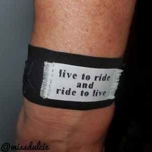 Live To Ride Ride To Live Biker Leather Bracelet
